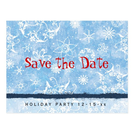 Holiday Party Snowflakes Save the Date Postcard
