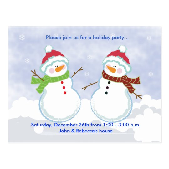HOLIDAY Party Snowman Postcard Invitation