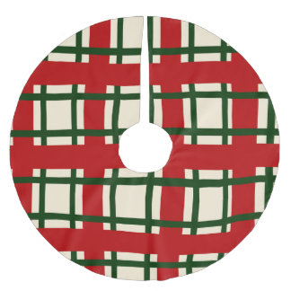 Holiday Pattern - criss cross Brushed Polyester Tree Skirt