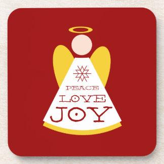 Holiday Peace Love Joy Angel Red Christmas Beverage Coaster
