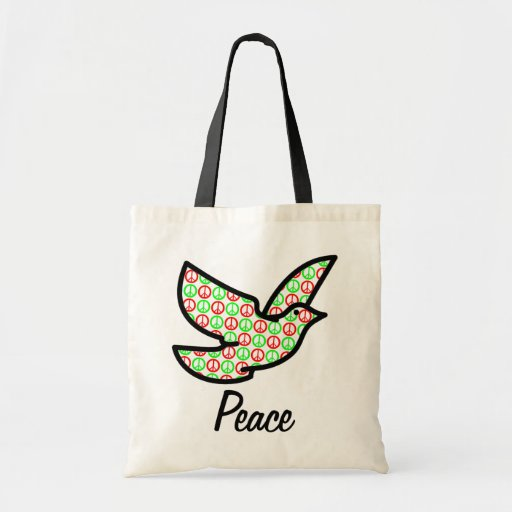Holiday Peace Signs Dove w/Text Canvas Bags