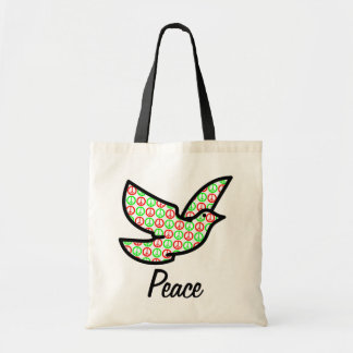 Holiday Peace Signs Dove w Text Canvas Bags