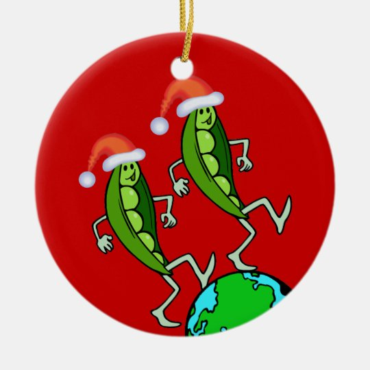 Holiday Peas on Earth Round Ceramic Decoration