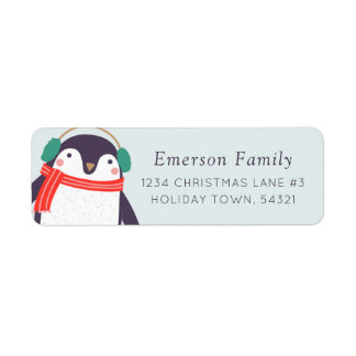 Holiday Penguin Return Address Label