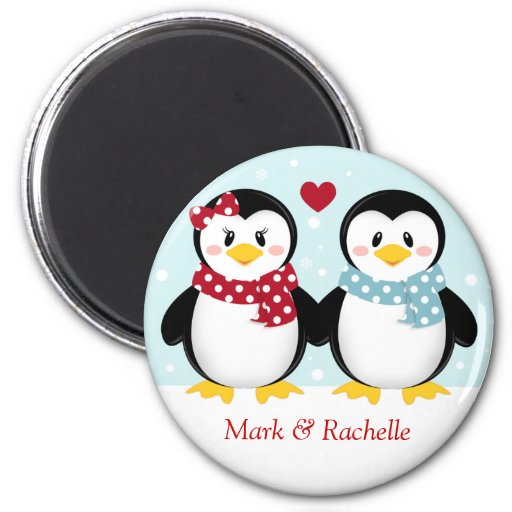 Holiday Penguins Christmas Magent Refrigerator Magnets