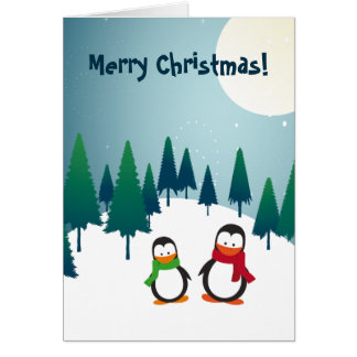 Holiday Penguins Merry Christmas 2 Greeting Card