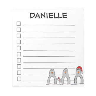 """Holiday Penguins"" Personalized Notepad"