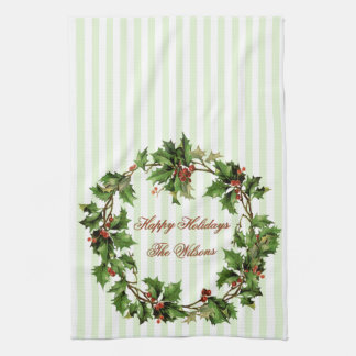Holiday Personalized Vintage Holly Wreath Tea Towel