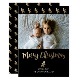 Holiday Photo Card | Black & Gold - Gingerbread
