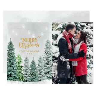 Holiday photo card christmas trees snow winter