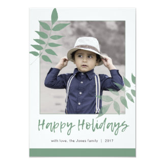 Holiday Photo Card | Green Leaves