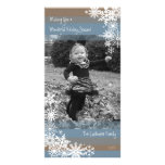 Holiday Photo Card: Let It Snow! Beige Blue Personalized Photo Card
