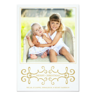 Holiday Photo Card / Modern Scrolls / White Gold 13 Cm X 18 Cm Invitation Card