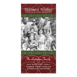 Holiday Photo Card: Red & Green Swirls Personalised Photo Card