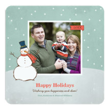 Holiday Photo Card | Winter Snowman 13 Cm X 13 Cm Square Invitation Card