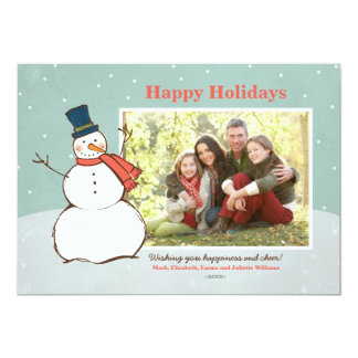 Holiday Photo Card | Winter Snowman Theme 13 Cm X 18 Cm Invitation Card