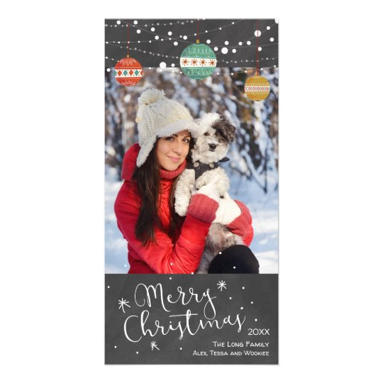 Holiday photo card with ornaments on chalkboard
