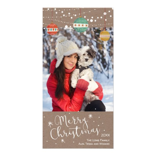 Holiday photo card with ornaments on kraft