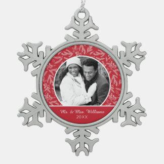 Holiday Photo | Christmas Holiday Floral Snowflake Pewter Christmas Ornament