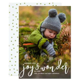 Holiday Photo Christmas Joy & Wonder Hand-Lettered Card
