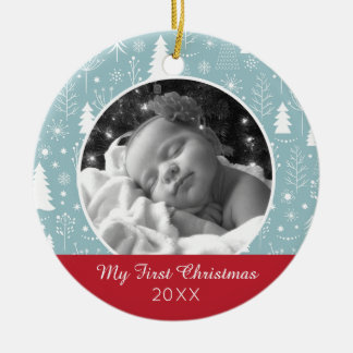 Holiday Photo   Light Blue Holiday Forest Christmas Ornament