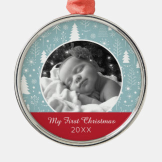 Holiday Photo | Light Blue Holiday Forest Christmas Ornament