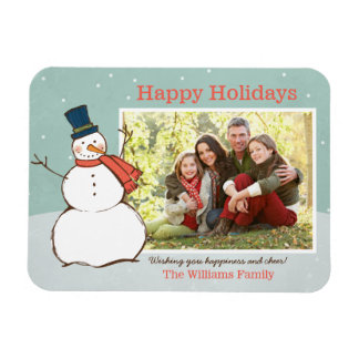 Holiday Photo Magnet | Winter Snowman Theme