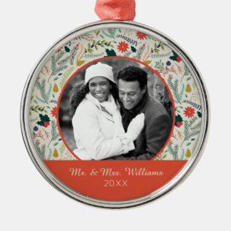 Holiday Photo | Merry Christmas Holiday Floral Christmas Ornament