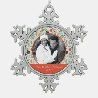 Holiday Photo | Merry Christmas Holiday Floral Snowflake Pewter Christmas Ornament