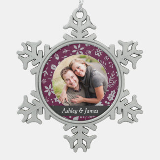 Holiday Photo Ornament | Burgundy Personalized