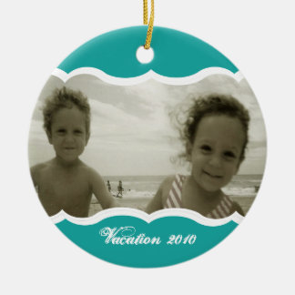 Holiday Photo/ Teal Christmas Ornament