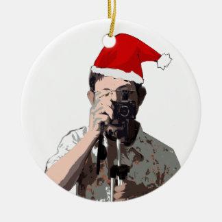Holiday Photographer Round Ceramic Decoration