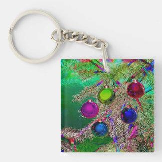 Holiday Pine Decor Double-Sided Square Acrylic Key Ring