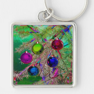 Holiday Pine Decor Silver-Colored Square Key Ring