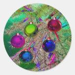 Holiday Pine Decor Round Sticker
