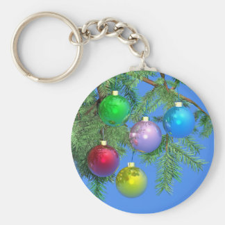 Holiday Pine on Blue Basic Round Button Key Ring