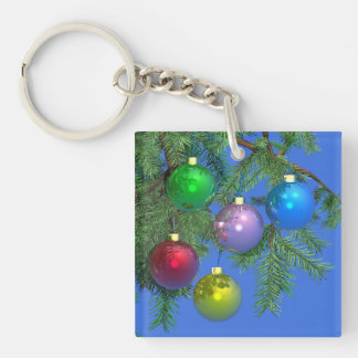 Holiday Pine on Blue Square Acrylic Keychains