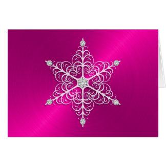 Holiday Pink Sheen Snowflake Greeting Card