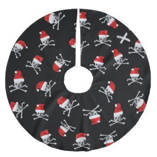 Holiday Pirate Skulls #2 Brushed Polyester Tree Skirt