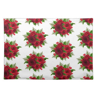 Holiday Placemat-Red Rose & Holly Placemat