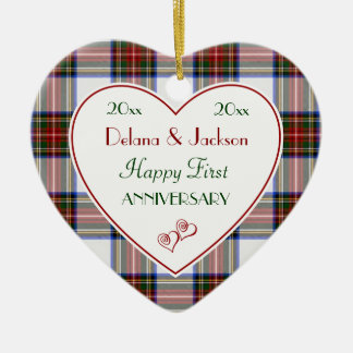 Holiday Plaid 1st Anniversary Christmas Ornaments