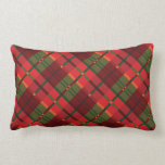 Holiday Plaid Pattern in Red and Green Lumbar Cushion