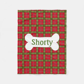 Holiday Plaid Personalized Doggie Blanket