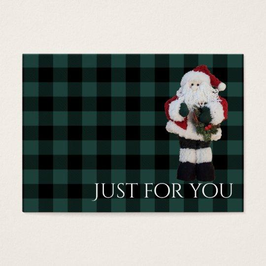 Holiday Plaid Santa Christmas Gift Certificate