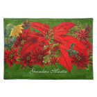 Holiday Poinsettia and Green Name Placemat