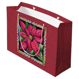 Holiday Poinsettia Large Gift Bag