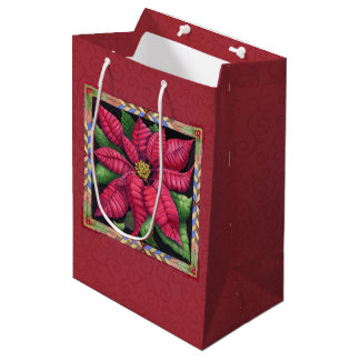 Holiday Poinsettia Medium Gift Bag