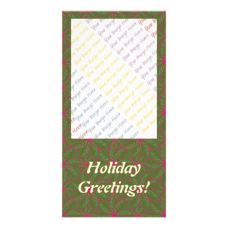 Holiday Poinsettia Pattern Customized Photo Card