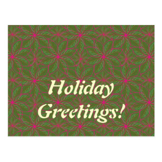 Holiday Poinsettia Pattern Postcard