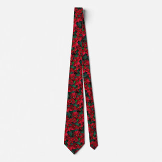 Holiday Poinsettias Christmas Flowers Floral Tie